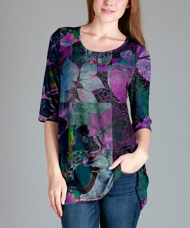 Look what I found on #zulily! Teal & Purple Floral Swing Tunic - Plus #zulilyfinds