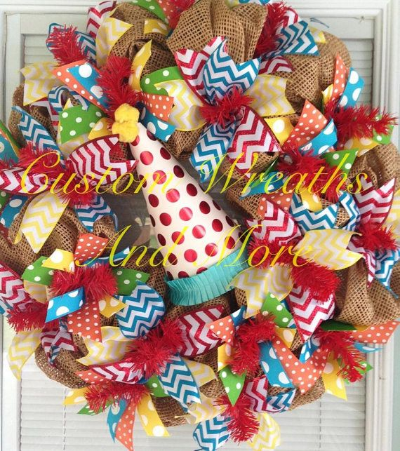 Happy Birthday wreath with mesh burlap and chevron in primary colors and party hat on Etsy, $85.00
