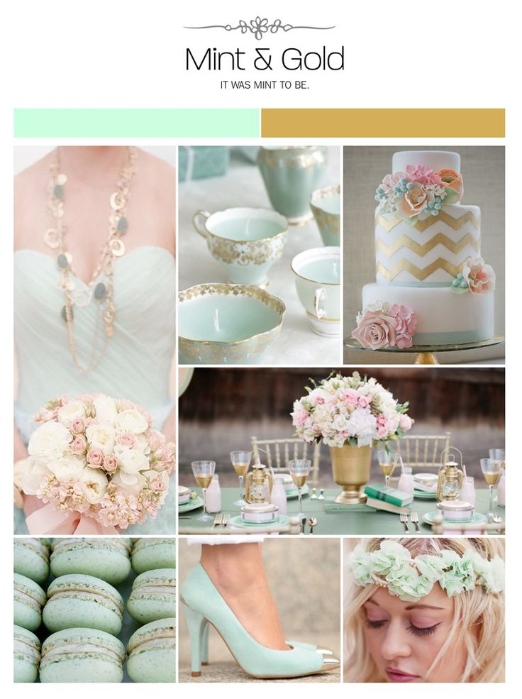 Mint and gold wedding inspiration board, color palette, mood board - Confetti Events
