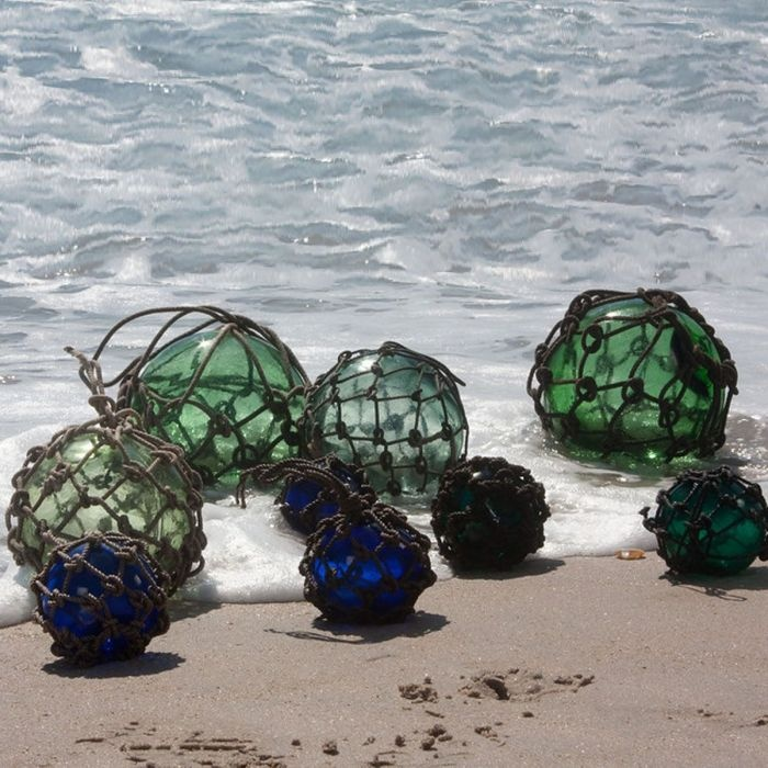 Fish net glass floats sea glass and net floats pinterest for Fishing net floats