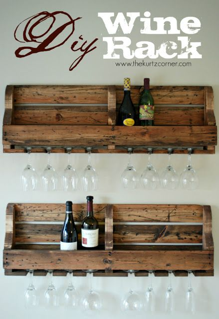 """Pallet Wine Rack - this is a great idea for the bar! Going to use the """"book shelves"""" I made for boys into these. Need to distress them now."""