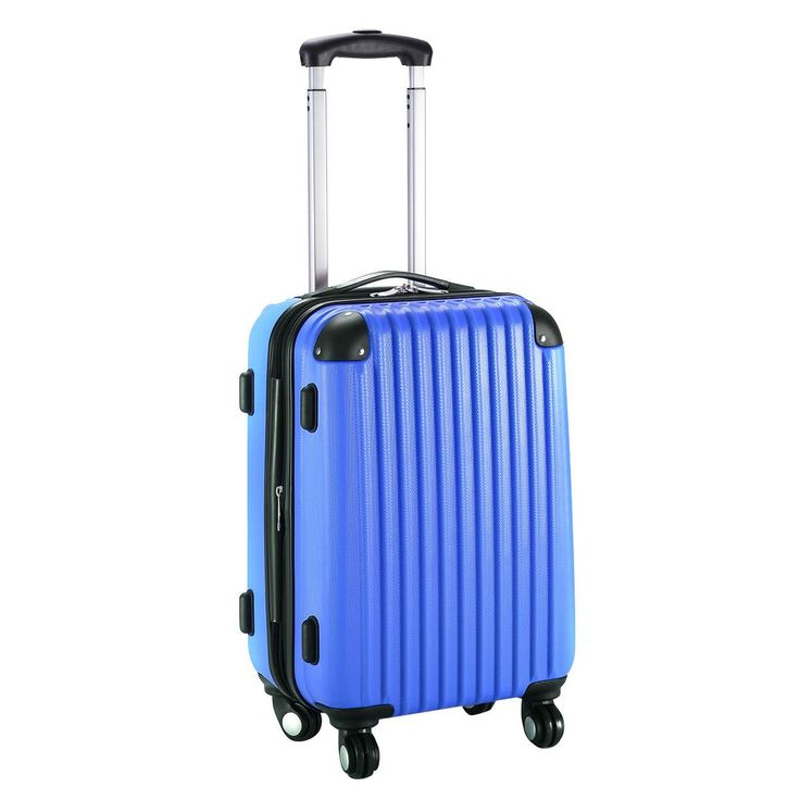 "20"" Navy Luggage Trolley Lightweight Suitcase Travel Multi-Directional Wheels Rolling"