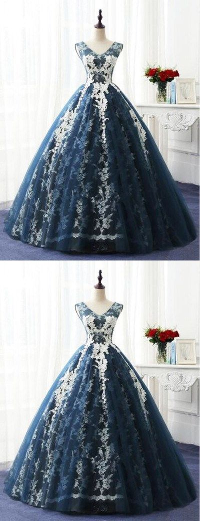 Navy blue tulle V neckling long winter formal prom dress, long lace appliques evening dress #Vneck #lace #navyblue #ballgown