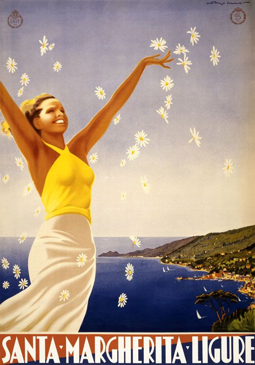 """This Italian travel poster shows a woman throwing daisies in the air, with the coastline of Liguria, Italy in the background: """"Santa Margherita Ligure."""" Published by the National Agency for the Tourism Industry, Ente Nazionale per le Industrie Turistiche. From lithograph, 1951."""