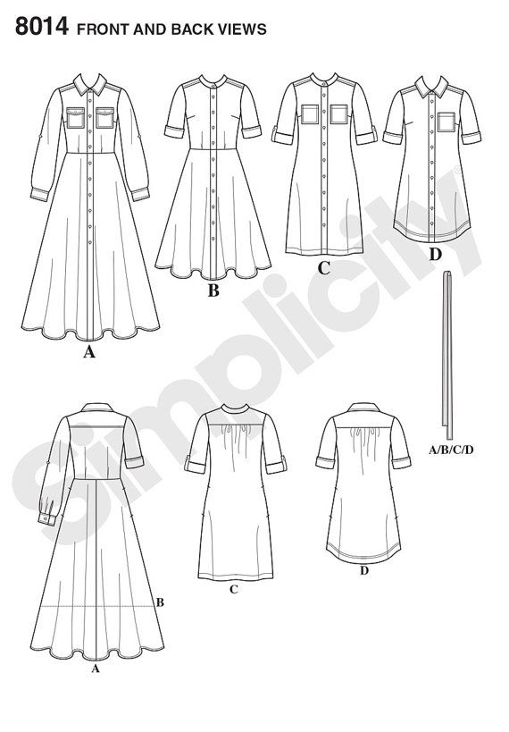 Simplicity Sewing Pattern 8014 Misses\'/Miss Petite Shirt Dresses ...