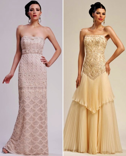 Sue Wong Wedding Gowns featuring hand-embroidered beading and embellishments - LOVE the one on the right