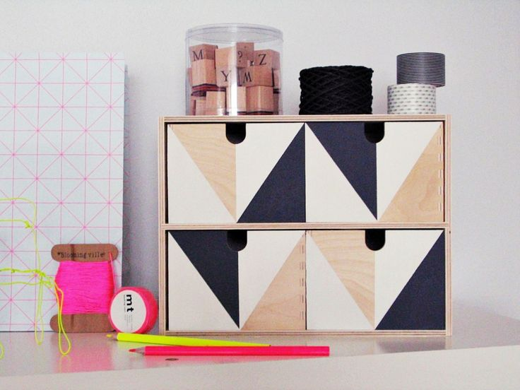 Ikea MOPPE (FIRA, MACKIS) mini chest of drawers: painted in a geometric pattern