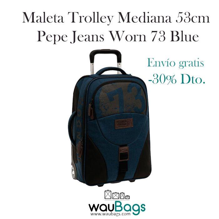 Con la Maleta trolley Pepe Jeans Worn 73 Blue no tendrás que facturar, ya que sus medidas son las homologadas para poderla llevar en la cabina del avión.Con 2 ruedas, dispone de varios compartimentos y organizadores internos, además de un bolsillo con cremallera en el exterior. @waubags #pepe #pepejeans #maleta #trolley #viaje #cabina #oferta #descuento #waubags