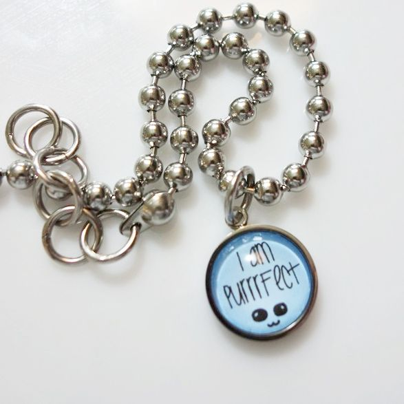 I Am Purrrfect | Stainless steel cat necklace with cabochon