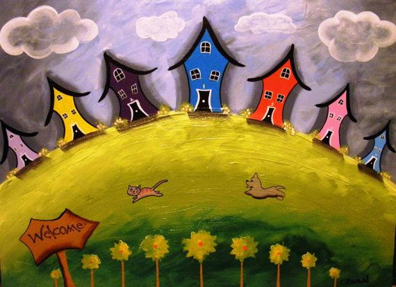 Crooked Houses Cat & Dog Post Card - Mailable - OOAK Stationery