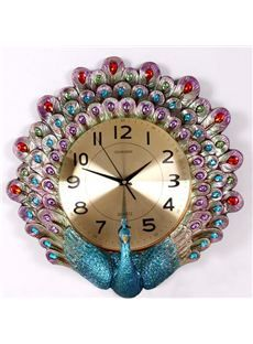 New Arrival Polyresin Breath-taking Peacock Home Furnishing  Wall Clock.