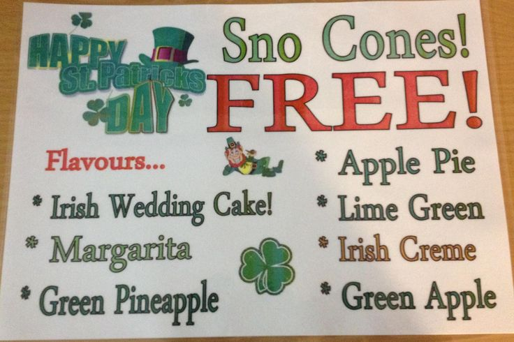 St Pat's Day Sno Cone Flavours