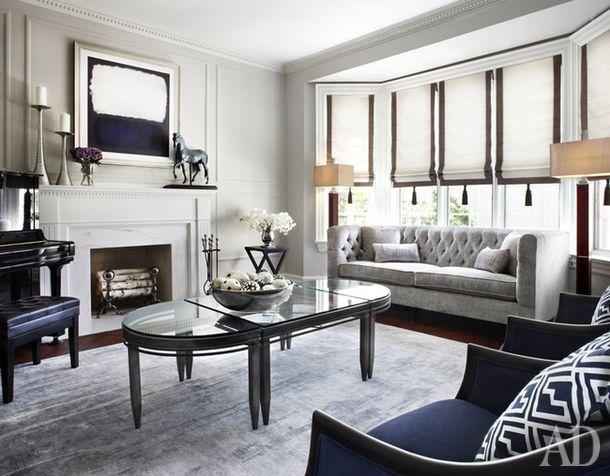 AD magazine. House in Toronto, Canada.  Elegant living room in cream and blue.