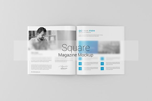 Square Magazine / Brochure Mock-Up by ToaSin on @creativemarket