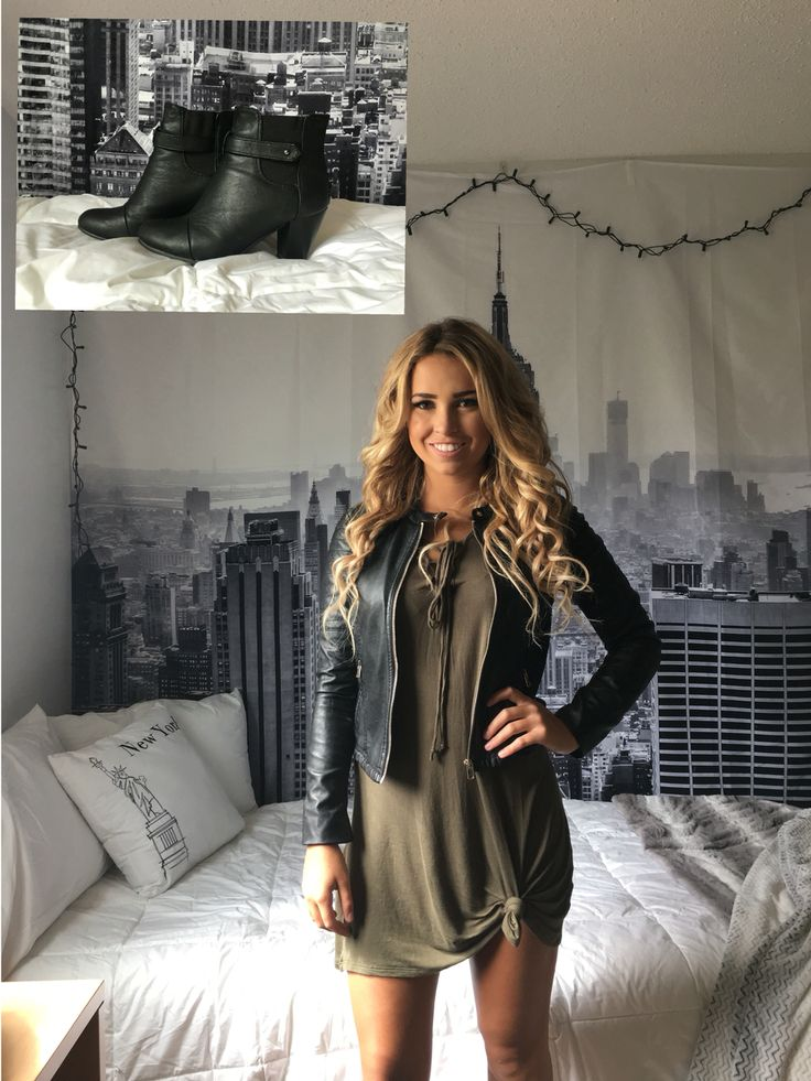 College orientation outfit! Back to school outfit, fashion, style, fall style, green dress, leather jacket