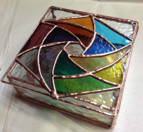 Stained Glass Jewelry Box  Groovy Pinwheel by PeaceLuvGlass, $38.00