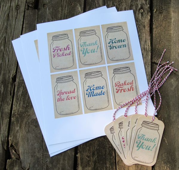 Free printable mason jar tags
