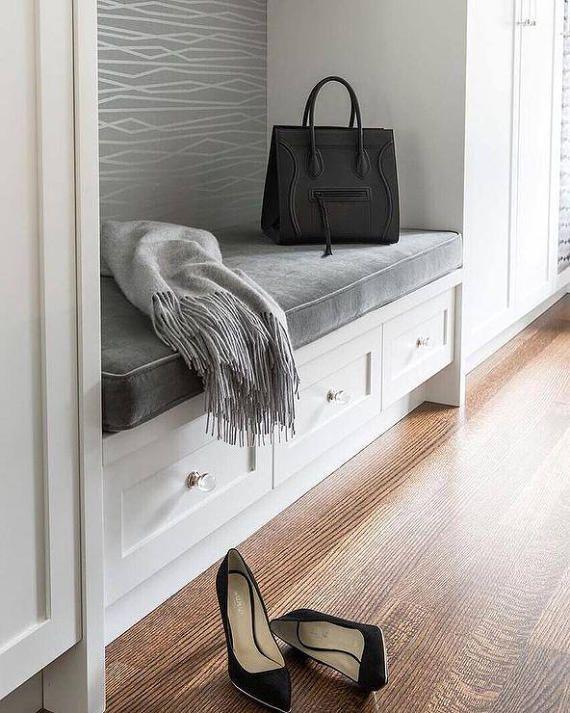 Designer bench cushion cover grey velvet wt matching for A 1 custom cabinets
