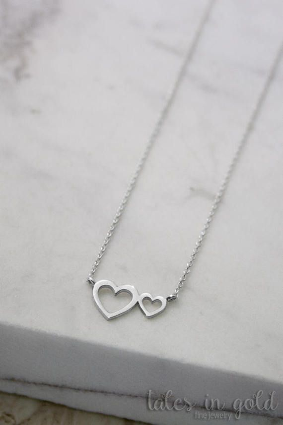 Gold Heart Necklace Heart Pendant 14k Gold Necklace by TalesInGold