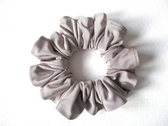 gray shiny soft slip jersey hair scrunchie, grey yoga accessory for women girl, handmade gift for her, big scrunchy, 80s 90s ponytail holder