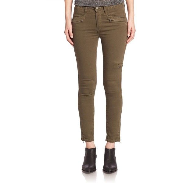 PAIGE Daryn Army Cargo Pants (865 ILS) ❤ liked on Polyvore featuring pants, apparel & accessories, leaf, brown pants, zip pants, zipper pants, skinny pants and skinny leg pants
