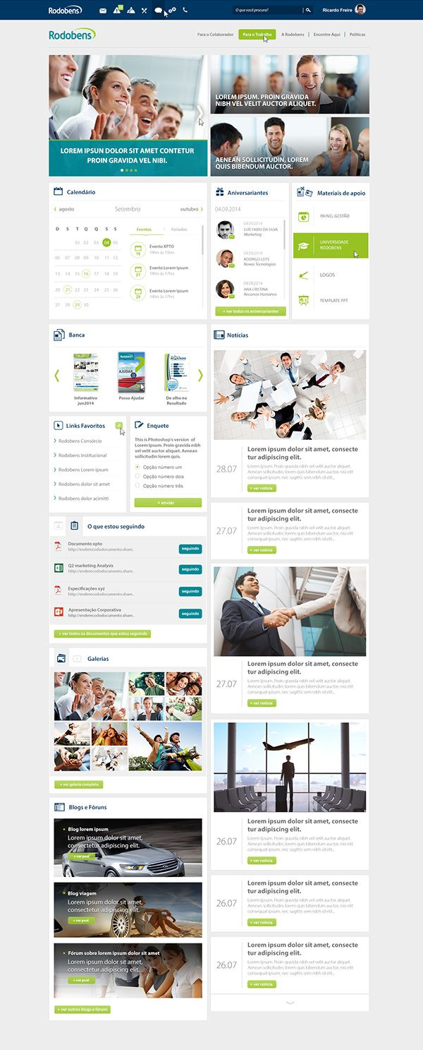 Sharepoint site design ideas - Intranet Rodobens On Behance Https Www Behance Net Gallery Sharepoint Intranetwebsite Designsbehanceui