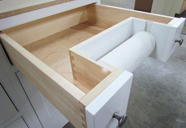 Paper towel alcove drawer.  Another neat idea on Houzz.  Specialty Accessories - transitional - Kitchen - Other Metro - Crystal Cabinets
