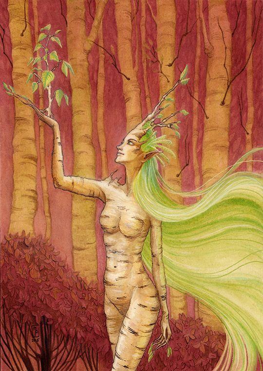 Birch Dryad by MichellePapadopoulos.deviantart.com on @DeviantArt