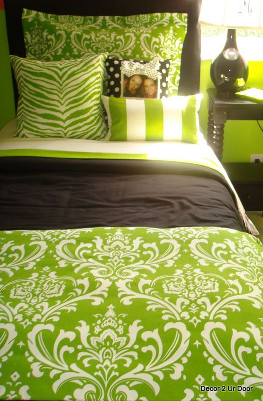 17 best images about paisley bedidng damask bedding on - Black and lime green bedding ...