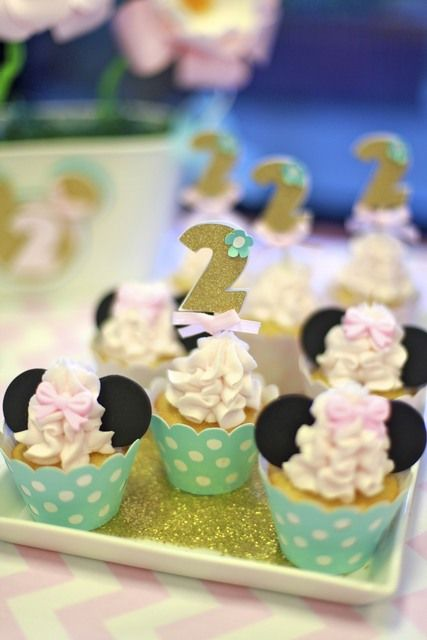 Gorgeous cupcakes at a Minnie Mouse Party.  See more party ideas at CatchMyParty.com.  #minniemousepartyideas