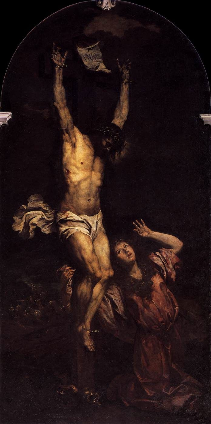"""""""The cross is like a touch of eternal love upon the most painful wounds of our earthly existence."""" ~ Bl. John Paul II {Dives in Misericordie'} Art:Giovanni Battista Langetti, The Crucifixion, c. 1670"""