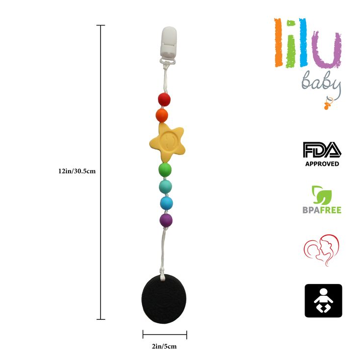 Food Grade Silicone Safe Eco Baby Teether Pacifier Clip Holder - Non-toxic, BPA, PVC, Phthalate, Lead and Latex free, FDA Approved - Pain Relief for Baby, Soft & Durable - Sensory Montessori inspired #baby #teether #montessori #bestforbaby #siliconeteether #safe #eco #toddler #oreo #cookie