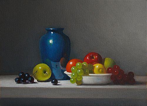 Blue Vase with Bowl of Fruit