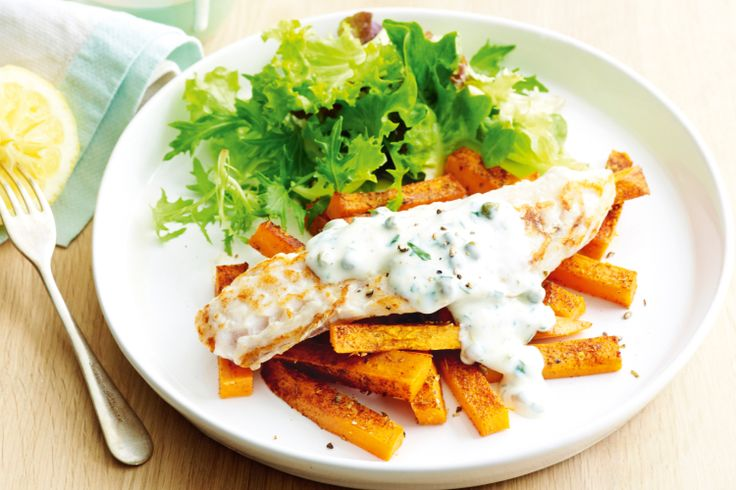 Fish and chips with lemon-yoghurt dressing http://www.taste.com.au/recipes/26467/fish+and+chips+with+lemon+yoghurt+dressing