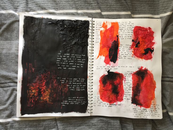 GCSE sketchbook - Looking at texture as a way of depicting hell