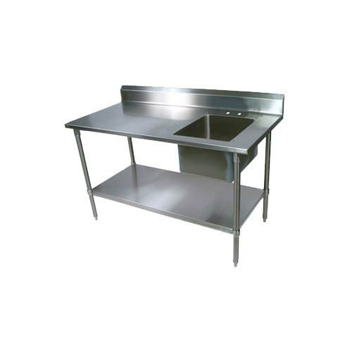 """60""""Wx30""""D Stainless Steel Prep Table w/ Right Side Sink. Prep Table. Manufacturer: BK Resources. 16""""wide x 20"""" front-to-back x 10"""" deep sink bowl on right. with sink. Made by BK Resources. In Prep Work Tables. 