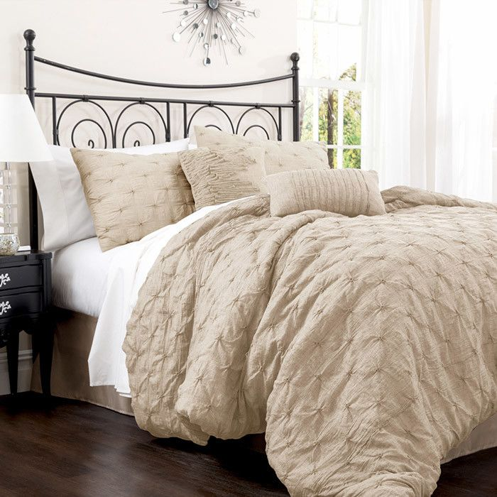 Comforter Set In Taupe Simple Unisex Bedroom Home