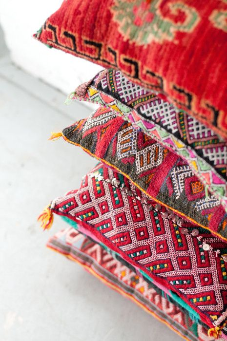 colorful decorative throw pillows made from moroccan textiles | home decor + decorating ideas