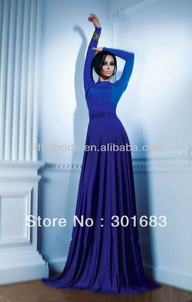 EVD048 Latest Royal Blue Long Sleeve Evening Dress For Muslim Women $125.00