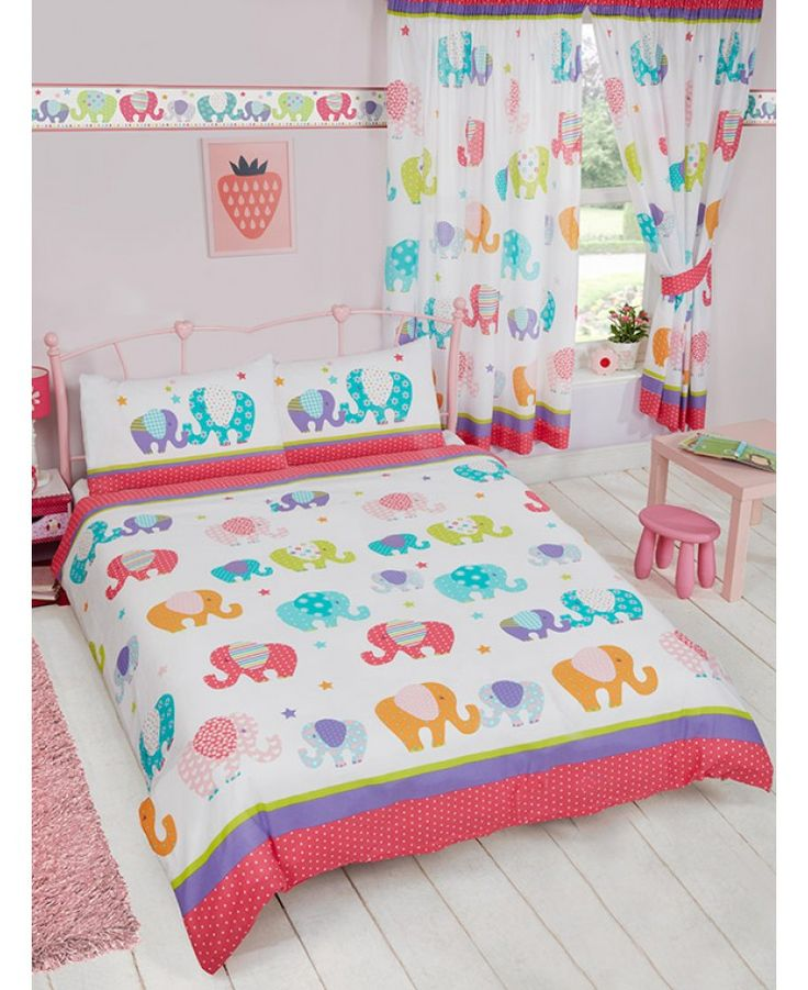 Colourful Patchwork Elephant Themed Double Bedding Set Matching Curtains And Wallpaper Border Available