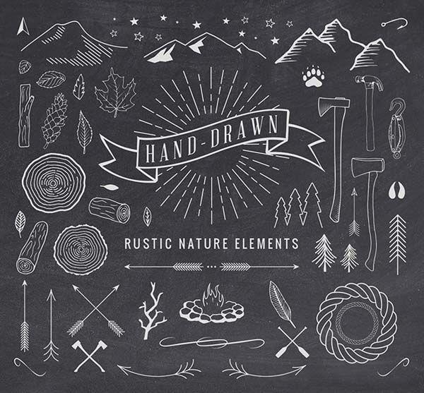 Vectores de elementos rústicos dibujados a mano