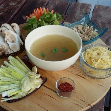 Chicken soup oriental style