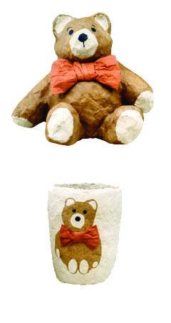 Bear with orange bow tie.