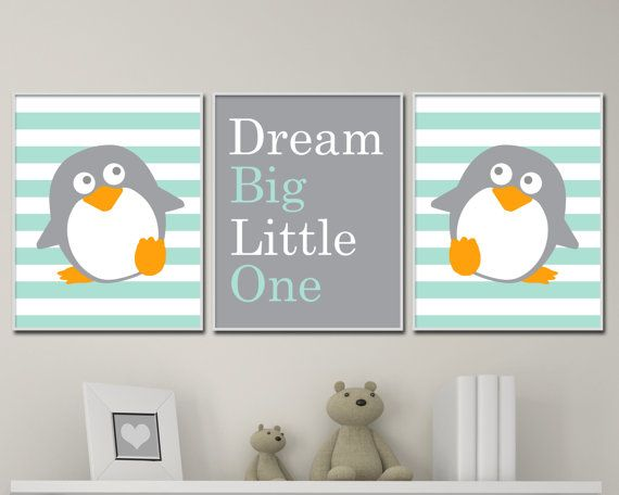 Baby Boy Nursery Art, Penguin Nursery Art Print, Suits Mint and Gray Nursery Decor - 4 Sizes Available - Colors Customizable P166,167,168 - Unframed