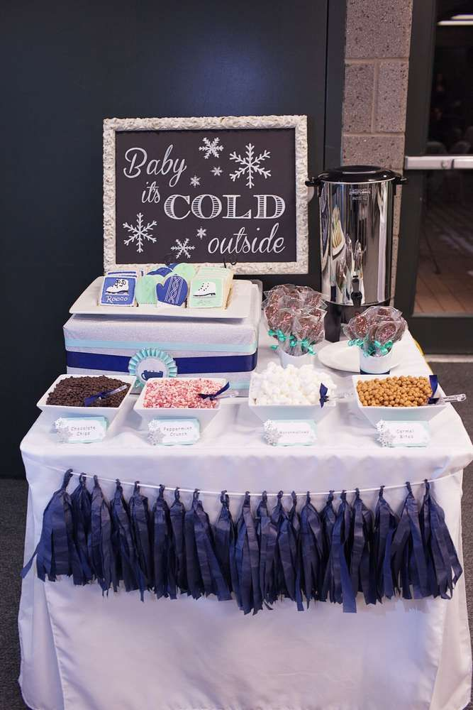 Hot cocoa bar at a winter wonderland ice skating birthday party! See more party planning ideas at CatchMyParty.com!