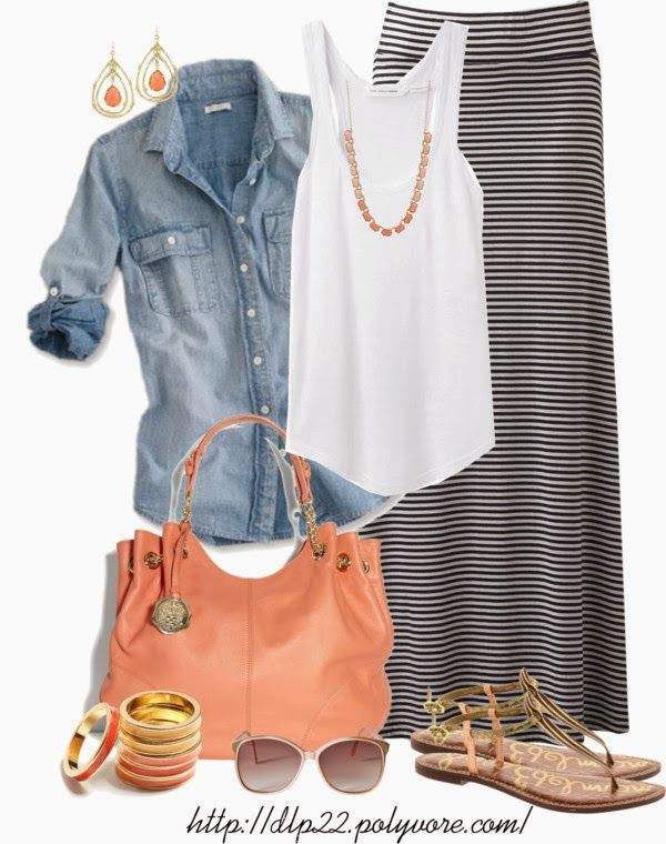Chambray button down over a tank and maxi skirt
