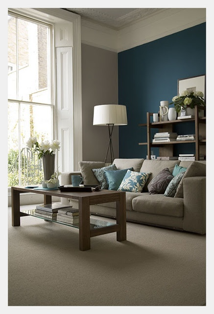 Estilo Home: Blue Accent Walls. Love this living room. Colors and all, including furniture placement.