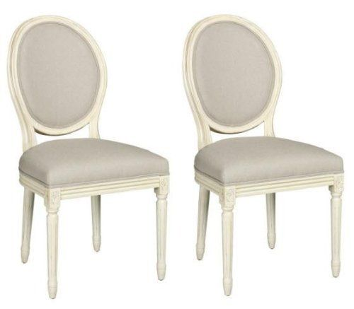 French Side Chair Set Of 2, OVAL BACK, ANTIQUE WHITE By Home Decorators  Collection. Dining Room ...
