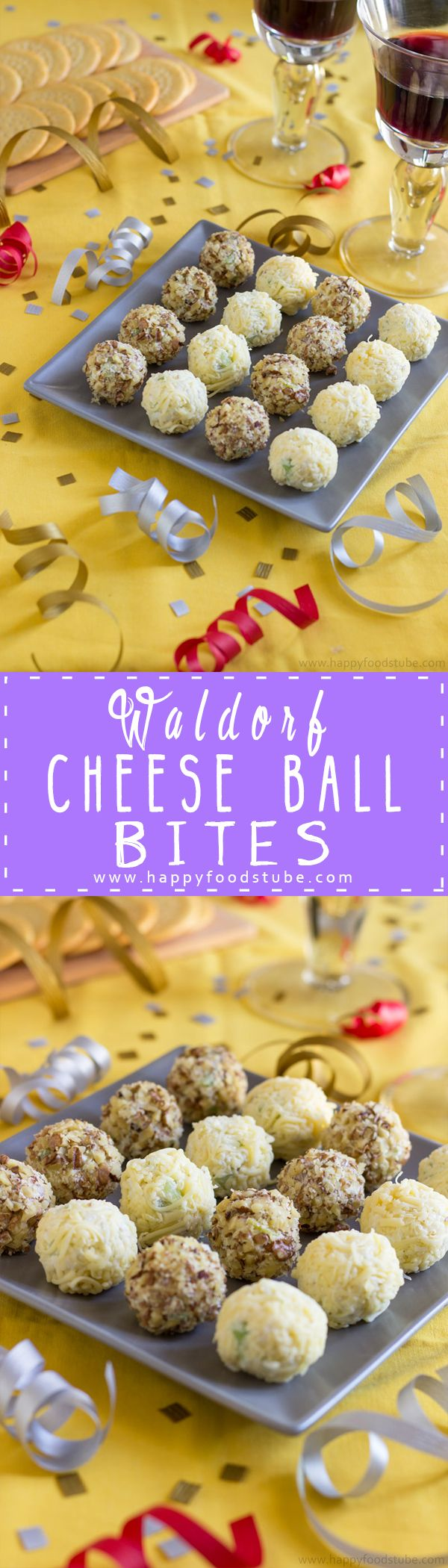 Impress your guests with these Waldorf cheese ball bites. A simple party snack idea that only takes 15 minutes to prepare and tastes like Waldorf salad! Only 5 ingredients | happyfoodstube.com