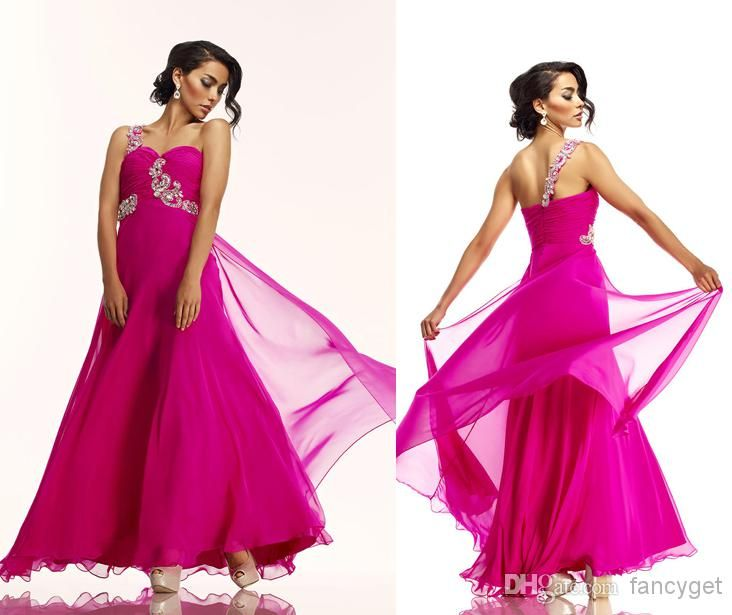 Wholesale Evening Gowns - Buy Hot Sale Fashion Elegant Prom Dresses A-Line One Shoulder Backless Floor Length Beaded Chiffon Bridesmaid Dresses, $82.7...